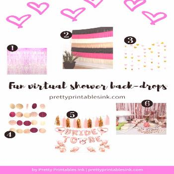 Fun backdrops for a virtual bridal shower {Post by Pretty Printables Ink}
