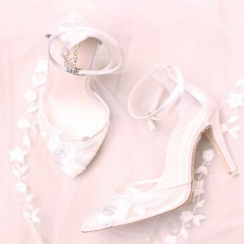 Ivory and pale blue Freya wedding shoes and Jasmine tulle beaded bridal veil by Claire Pettibone Cl