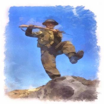Painting - British Soldier Wwii Attack by Esoterica Art Agency ,