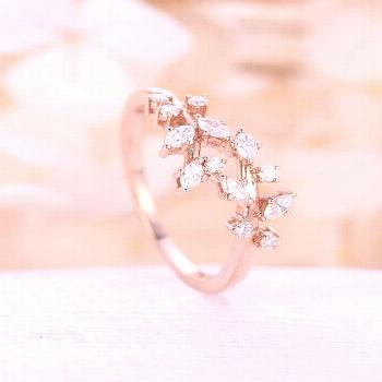 Rose gold engagement ring Diamond Cluster ring Unique engagement ring leaf wedding Bridal Jewelry A