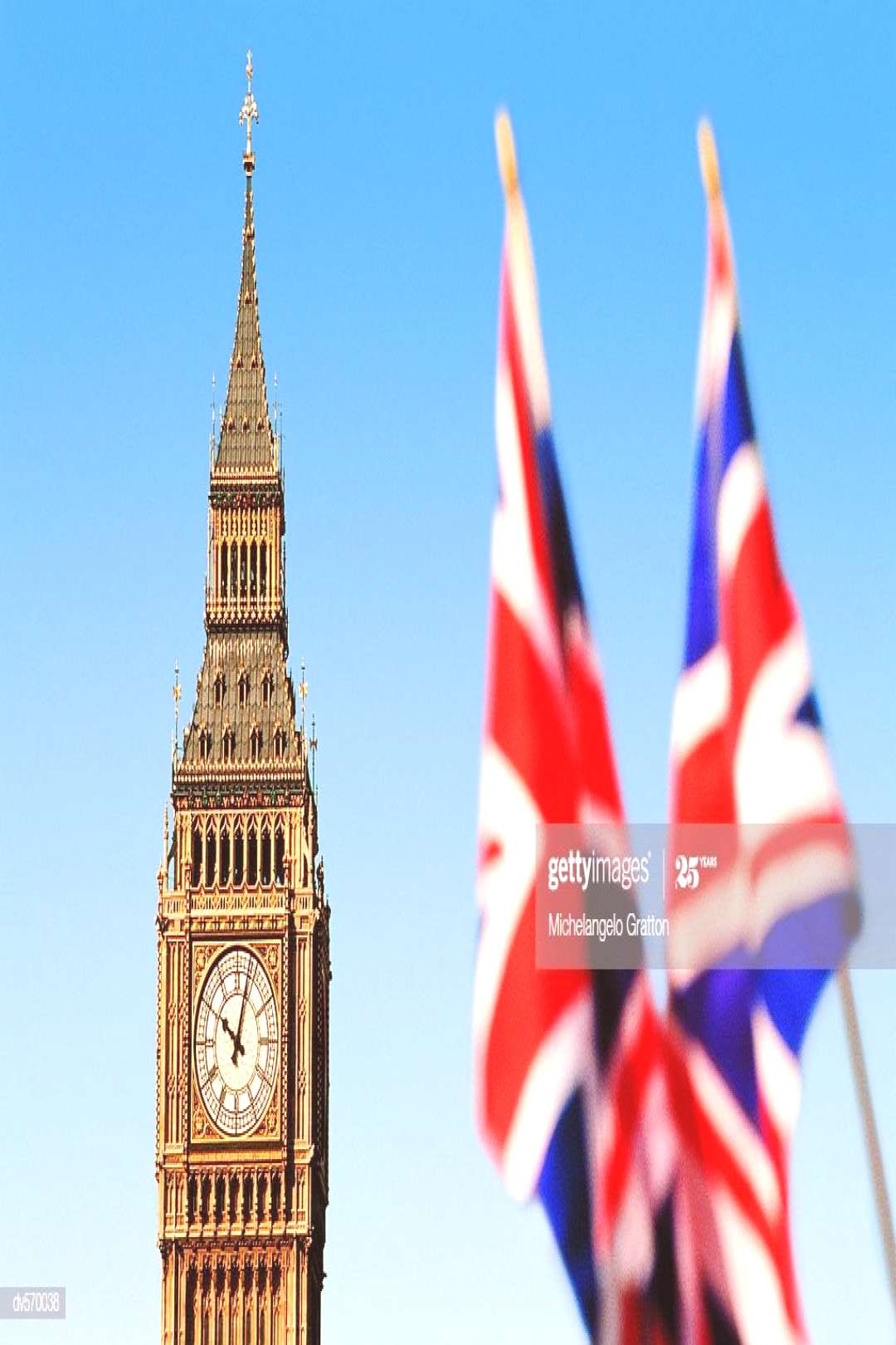 Big Ben And British Flags Photography ,